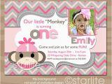 Sock Monkey First Birthday Invitations Photo Birthday Invitation Girl sock Monkey Pink Grey