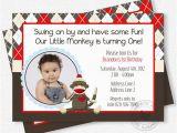Sock Monkey First Birthday Invitations sock Monkey Birthday Invitation Boy Birthday Invitation