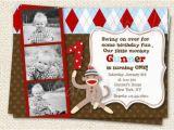 Sock Monkey First Birthday Invitations sock Monkey Birthday Invitations by Lollipopprints On Etsy