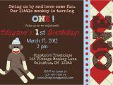 Sock Monkey First Birthday Invitations sock Monkey Birthday Invitations