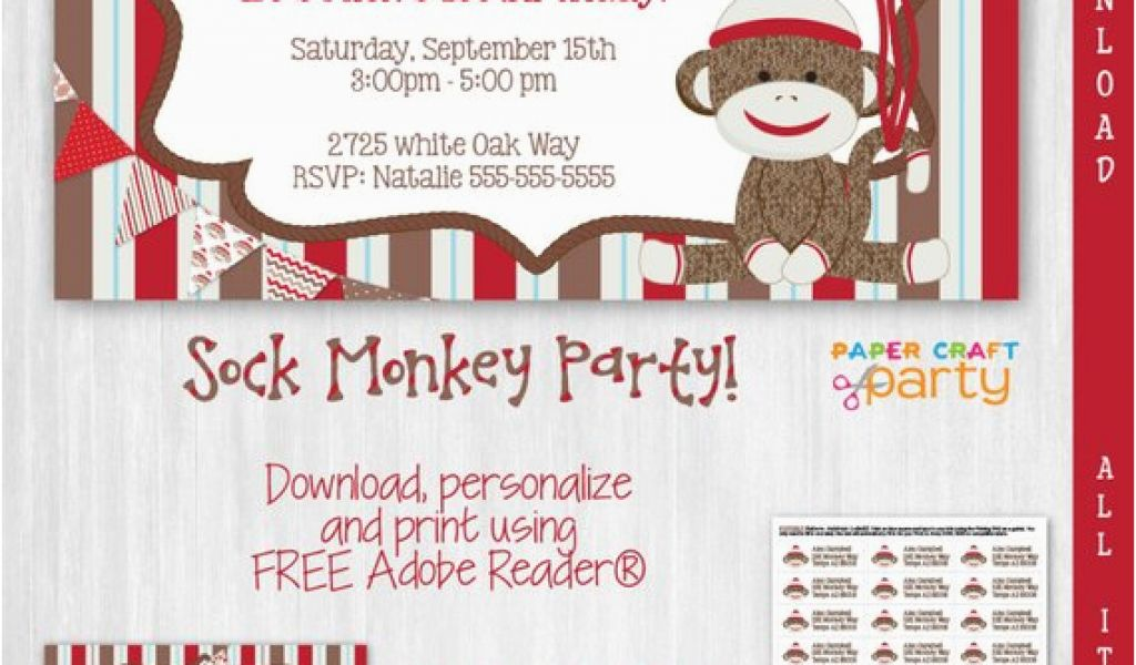 Sock Monkey Invitations 1st Birthday Invitation Instant
