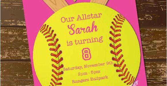Softball Birthday Invitations softball Invitation Birthday Invitation softball Invite