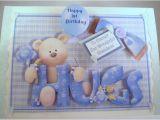 Son First Birthday Card Boys First Birthday Card Cute Teddy Handmade Folksy