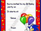 Sonic Birthday Invitation Templates sonic Birthday Invitations Best Party Ideas