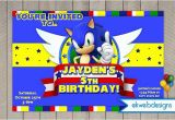 Sonic the Hedgehog Birthday Invitations sonic the Hedgehog Birthday Invitation