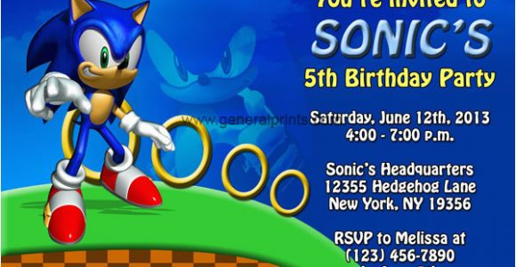 Sonic the Hedgehog Birthday Invitations sonic the Hedgehog Invitations Birthday Party Invites