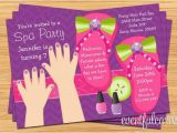 Spa Birthday Party Invitations for Kids Mani Pedi Spa Party Kids Birthday Invitation