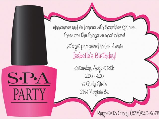 Spa Day Birthday Party Invitations 9 Best Images Of Spa Party