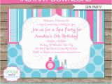 Spa Day Birthday Party Invitations Spa Birthday Party Invitations Decorations