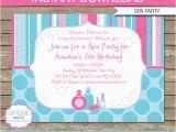 Spa themed Birthday Party Invitations Printable Spa Birthday Party Invitations Decorations