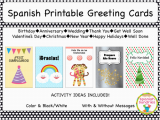 Spanish Birthday Cards Printable Spanish Greeting Cards by sombra1230 Teaching Resources