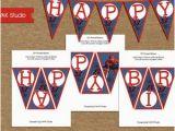 Spiderman Happy Birthday Banner Printable Free Spiderman Birthday Banner Etsy