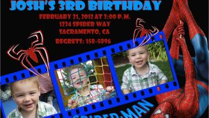 Spiderman Photo Birthday Invitations Custom Spiderman Birthday Invitation Photo Card 5×7 or 4×6