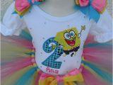 Spongebob Birthday Girl Outfit Girls Spongebob Birthday Quick Ship Tutu Set