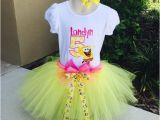 Spongebob Birthday Girl Outfit Spongebob Birthday Tutu Set Outfit with Tutu Personalized