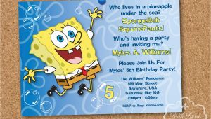 Spongebob Squarepants Birthday Invitations Spongebob Squarepants Birthday Party Printable Invitation