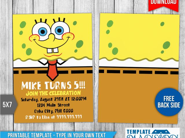 Download By SizeHandphone Tablet Desktop Original Size Back To Spongebob Squarepants Printable Birthday Invitations Free