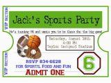 Sport Birthday Invitations Personalized Sports Invitations Football Basketball soccer