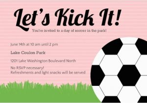 Sports Birthday Party Invitation Wording Pink Soccer Ball Invitations