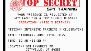 Spy Birthday Party Invitation Template Free Printable Spy Party Invitations Onecreativemommy Com
