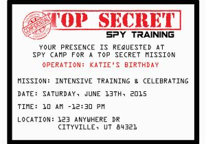 Spy Birthday Party Invitation Template Free Printable Spy Party