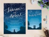 Starry Night Birthday Invitations Starry Night Wedding Invitation and Wishing Well Card Under