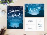 Starry Night Birthday Invitations Starry Night Wedding Invitations and Rsvp Cards Mountain