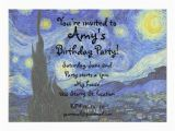 Starry Night Birthday Invitations Van Gogh Starry Night Invitation Zazzle