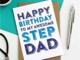 Step Dad Birthday Cards Happy Birthday to My Awesome Step Dad Greetings Card by Do