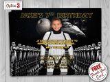 Stormtrooper Birthday Invitations Star Wars Birthday Invitation with Photo Darth Vader