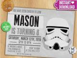 Stormtrooper Birthday Invitations Star Wars Invitation Editable Text Stormtrooper