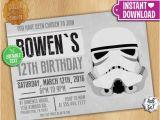 Stormtrooper Birthday Invitations Star Wars Stormtrooper Invitation Editable Text