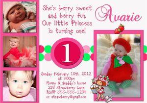 Strawberry Shortcake 1st Birthday Invitations Chandeliers Pendant Lights