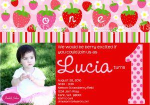Strawberry Shortcake 1st Birthday Invitations Strawberry Birthday Photo Printable Invitation Dimple