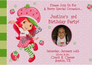 Strawberry Shortcake 1st Birthday Invitations Strawberry Shortcake Birthday Invitations Modern