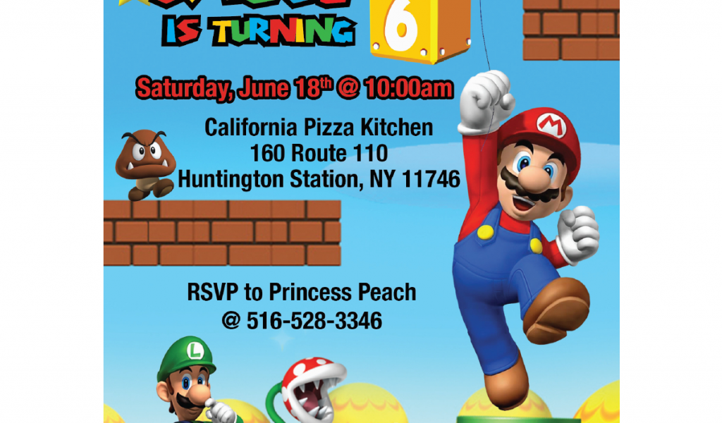 Super Mario Brothers Birthday Invitations Bros