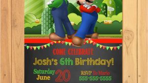 Super Mario Brothers Birthday Invitations Super Mario Brothers Invitation Chalkboard Super Mario