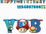 Super Mario Happy Birthday Banner Super Mario Bros Add Age Happy Birthday Banner