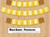 Super Mario Happy Birthday Banner Super Mario Bros Birthday Banner Printable