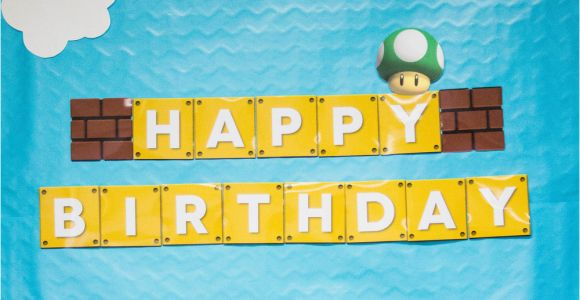 Super Mario Happy Birthday Banner Super Mario Party Recap with Free Printables Mkkm Designs