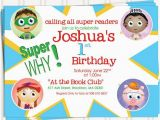 Super why Birthday Invitations Items Similar to Super why Birthday Invitations On Etsy