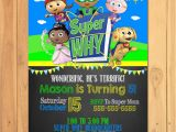 Super why Birthday Invitations Super why Invitation Chalkboard Super why Birthday Super