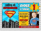 Superhero 1st Birthday Invitations 10 Images About Superman Invitations On Pinterest Photo
