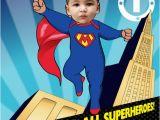 Superhero 1st Birthday Invitations Baby Superhero 1st Birthday Party Invitation Personalized