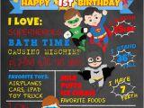Superhero 1st Birthday Invitations First Birthday Chalkboard Superheroes by Faithfamilyfundesign