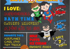 Superhero 1st Birthday Invitations First Chalkboard Superheroes By Faithfamilyfundesign