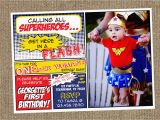 Superhero 1st Birthday Invitations Item Details