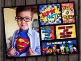 Superhero 1st Birthday Invitations Superhero Invitation Fast Customize Custom Picture