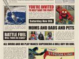 Superhero Newspaper Birthday Invitations A Superhero Birthday Party Part 1 Save the Day
