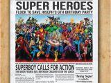 Superhero Newspaper Birthday Invitations Superhero Newspaper Boys Birthday Invitation by